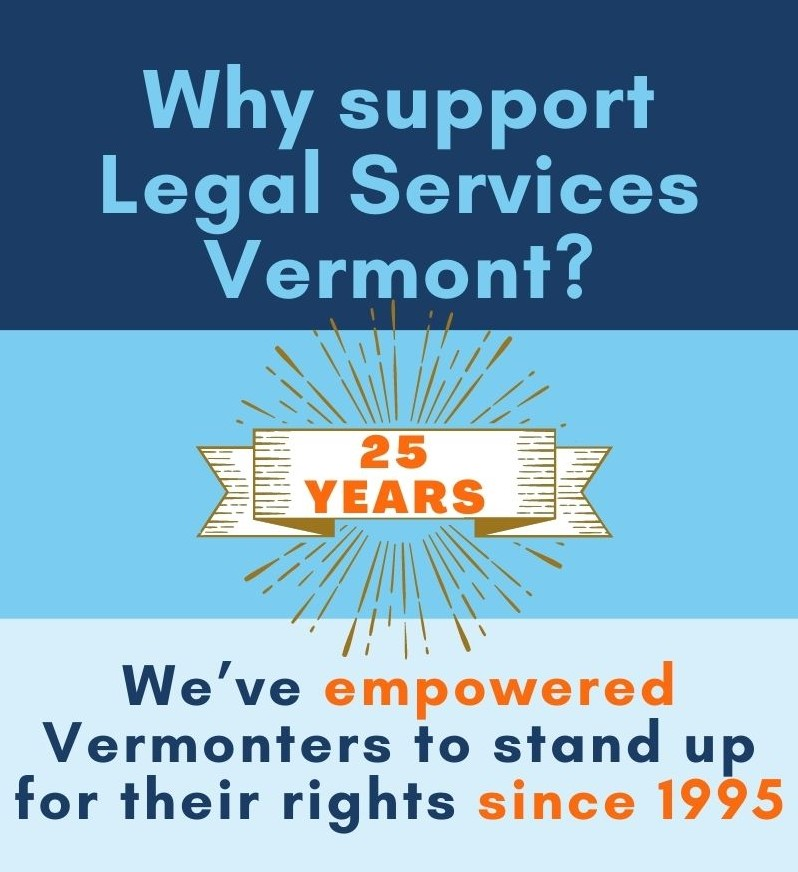 Graphic that says LSV has helped empower Vermonters for 25 years